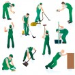 Set of ten professional cleaners in green uniform — Stock Vector