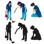 Set of three women cleaners — Stock Vector