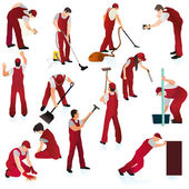 Set of thirteen professional cleaners in the red uniform — Stock Vector