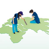 Two women cleaners wiping the world map — Stock Vector