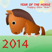 Funny excellent horse as a symbol of 2014 New Year — Stock Vector