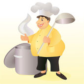 Funny stout smiling cook with a big spoon and a stew pan — Stock Vector