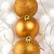 Stock Photo: Gold Christmas baubles