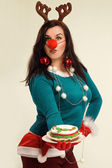 Woman in the Christmas spirit — Stock Photo