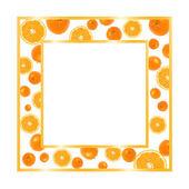 Zlatý rám s pomeranči — Stock fotografie