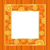 Gold frame with oranges — Stock Photo