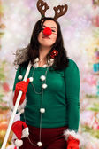 Woman ready for Christmas — Stock Photo