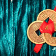 Stock Photo: Background with Chinese lucky coins