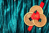 Background with Chinese lucky coins — Stock Photo