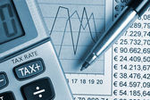 Detail of calculator, focusing the TAX key — Stock Photo