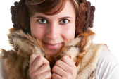 Cold Woman Snuggling in Warm Coat — Stock Photo