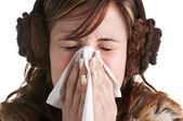 Sick Woman Sneezing — Stock Photo