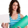 Woman Holding a Mat and a White Empty Card — Stock Photo #24918309