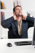 Casual Businessman With Pain In His Neck — Stock Photo