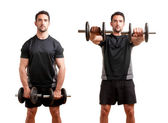 Man Working Out With Dumbbels — Stock Photo