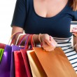 Woman Carrying Shopping Bags And Holding a Credit Card — Stock Photo