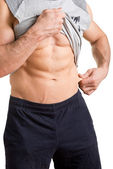 Male Pinching Fat From his Waist — Stock Photo