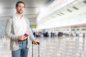 Man waiting in an airport — Stock Photo