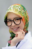 Smile of Scarf Girl with Braces Teeth — Stock Photo