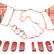 Good Luck text and handshake shape - Stock Photo