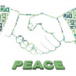 Stock Photo: Peace text and handshake shape