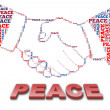 Peace text and handshake shape — Stock Photo