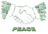 Peace text and handshake shape — Stock Photo