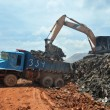 Garbage Trucks work on the landfill — Stock Photo