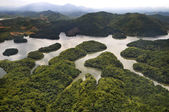 Rain Forest mountain and lake, Kedah Malaysia - arial view — Stock Photo