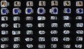 Silver Diamond Rings on Black Backbround — Stock Photo