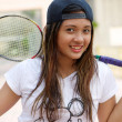 Stock Photo: Badminton girl
