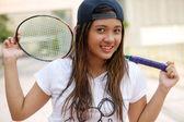 Badminton girl — Stock Photo