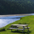 Wooden Picnic Table Blue Creek Forest — Stock Photo