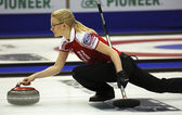 Curling Women Russia Alexandra Saitova Delivers — Stock Photo