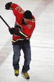 NHL Hockey Theo Fleury Skating Jumps — Stock Photo