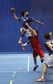 Pallamano squadra uomo jump shot — Foto Stock