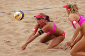 Beach Volleyball Woman Switzerland Ball — Stock Photo