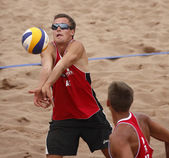 Latvia Beach Volleyball Man Ball — Stock Photo