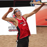 Latvia Beach Volleyball Man Jump — Stock Photo