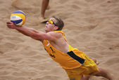 Australia Beach Volleyball Man Ball Arms — Stock Photo