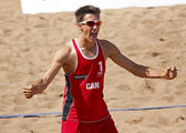 Beach Volleyball Man Canada Celebrate — Stock Photo