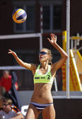 Beach Volleyball Woman Russia Serve Ball — Stock Photo