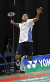 Badminton brazil jump hit shot — Стоковое фото