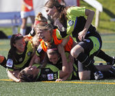 Canada soccer quebec women win celebration — Stock Photo