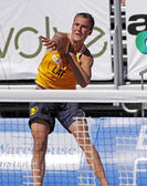 Beach volleyball latvia serve — Stock Photo