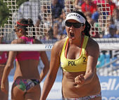 Beach volleyball poland woman — Stock Photo