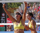 Beach volleyball woman poland — Stok fotoğraf