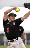 Fastpitch softball men pitcher — Fotografia Stock