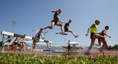Steeplechase Track Men Water Jump — Stock Photo