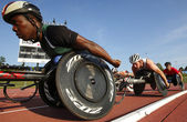 Wheelchair Track Race Men Athletes — Stock Photo
